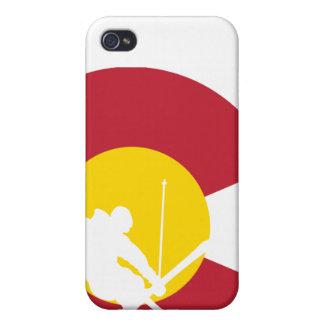 iPhone de la bandera de Colorado - esquiador - cru iPhone 4 Carcasa