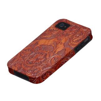 iPhone de la mirada del cuero del mustango iPhone 4/4S Carcasa