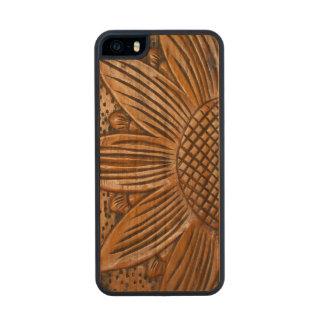 iPhone de madera de Carved® del girasol de madera Funda De Madera Para iPhone 5