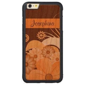 iPhone de madera del hibisco floral de marfil 6