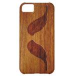iPhone de madera divertido del bigote 5 casos