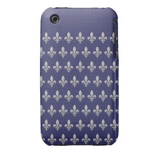 iPhone de plata 3G/3GS del azul real de la flor de iPhone 3 Case-Mate Cobertura