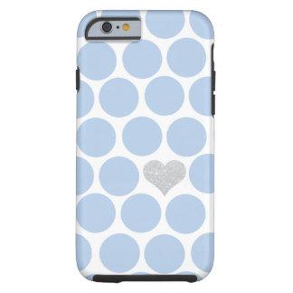 iPhone de plata del corazón de los lunares azules Funda Resistente iPhone 6