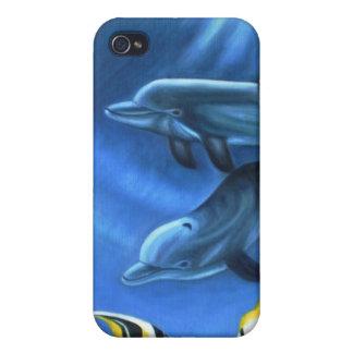 iPhone del arte del delfín 4 cajas de la mota iPhone 4/4S Fundas