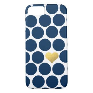 iPhone del corazón de la hoja de oro del lunar de Funda iPhone 7