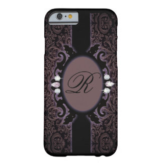 iPhone del monograma del vintage del purpleDamask Funda Barely There iPhone 6
