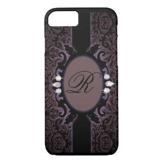 iPhone del monograma del vintage del purpleDamask Funda iPhone 7