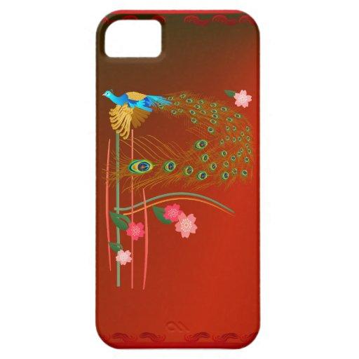 iPhone del pavo real y de las flores de cerezo del iPhone 5 Case-Mate Funda