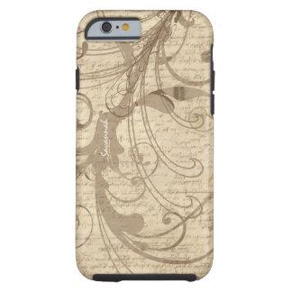 iPhone del remolino de la escritura del vintage de Funda Resistente iPhone 6