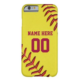 iPhone del softball 6 casos con su NOMBRE y NÚMERO Funda Para iPhone 6 Barely There