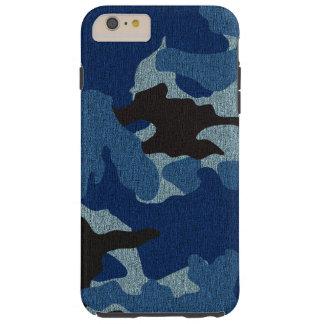 iPhone duro azul de Camo del falso paño 6 6S más Funda Para iPhone 6 Plus Tough