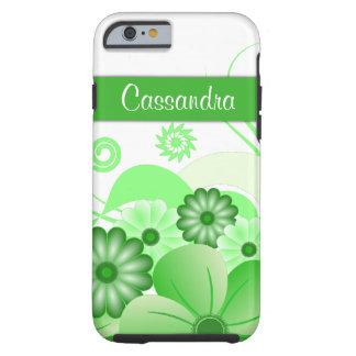 iPhone duro de encargo floral del hibisco verde 6 Funda De iPhone 6 Tough