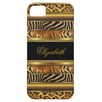 iPhone Elegant Classy Gold Mixed Animal Print iPhone SE/5/5s Case