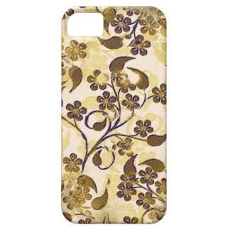iPhone floral 5 de la casamata del oro de Brown Funda Para iPhone 5 Barely There