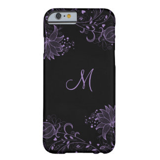 iPhone floral bosquejado negro y púrpura femenino Funda De iPhone 6 Barely There