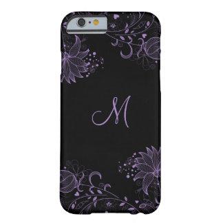 iPhone floral bosquejado negro y púrpura femenino Funda Barely There iPhone 6