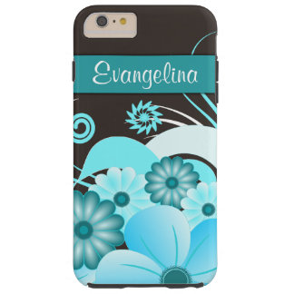iPhone floral del hibisco azul de la aguamarina 6 Funda De iPhone 6 Plus Tough