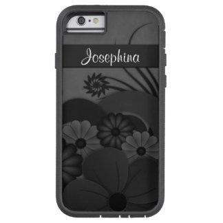 iPhone floral del hibisco negro gótico 6 6S Xtreme Funda Para iPhone 6 Tough Xtreme