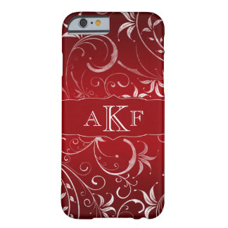 iPhone floral del monograma del damasco del Grunge Funda Barely There iPhone 6