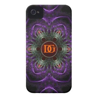 iPhone floral medieval púrpura 4 del monograma Case-Mate iPhone 4 Cobertura