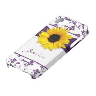 iPhone floral púrpura 5 del girasol del amarillo d iPhone 5 Protectores