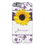 iPhone floral púrpura del girasol del amarillo del Funda De iPhone 6 Barely There