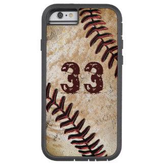 iPhone fresco del béisbol del vintage del número Funda Tough Xtreme iPhone 6
