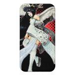 iPhone gráfico negro y rojo del geisha de la nieve iPhone 4 Protectores