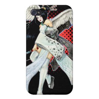 iPhone gráfico negro y rojo del geisha de la nieve iPhone 4 Carcasas