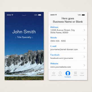 iPhone iOS Customizable Flat UI Style Business Card