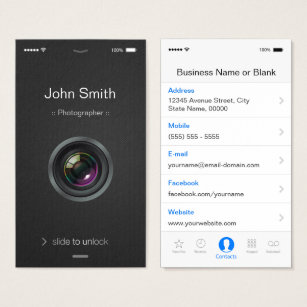 Mobile business cards templates zazzle iphone ios style camera lens photography business card accmission Image collections