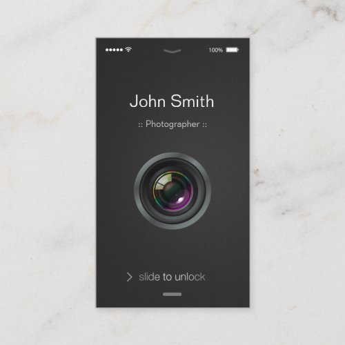 iPhone iOS Style _ Camera Lens Photography Business Card