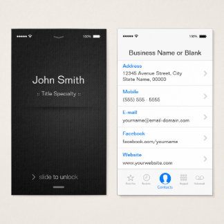 iPhone iOS Style - Simple Generic Black and White Business Card