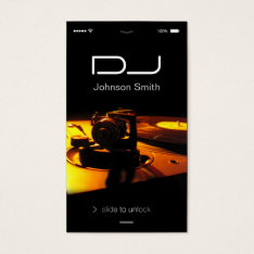 iPhone iOS Style - Turntable headphone Pub DJ Business Card at Zazzle