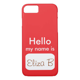 iPhone iPad Case Red White Hello My Name Is