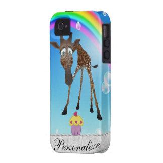 iPhone lindo 4/4S de la jirafa, de la magdalena y  Vibe iPhone 4 Carcasa