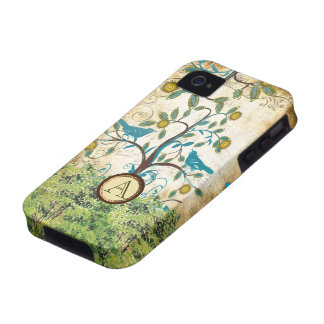 iPhone lindo del árbol de Swirly del pájaro del Case-Mate iPhone 4 Fundas