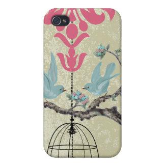 iPhone lindo del damasco del rosa de la jaula de iPhone 4/4S Fundas