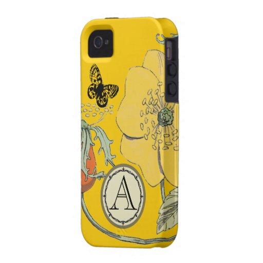 Iphone moderno de la flor de la amapola del vintag Case-Mate iPhone 4 carcasa