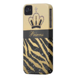 iPhone negro 4 de la corona del estampado de zebra iPhone 4 Protectores