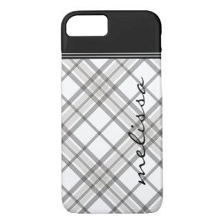 iPhone negro y del moreno 7 de la tela escocesa Funda iPhone 7