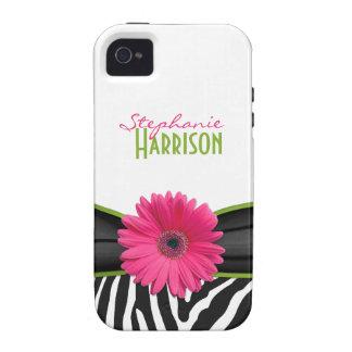 iPhone personalizado estampado de zebra verde rosa Vibe iPhone 4 Funda