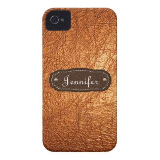 iPhone personalizado mirada de cuero anaranjada Case-Mate iPhone 4 Protector