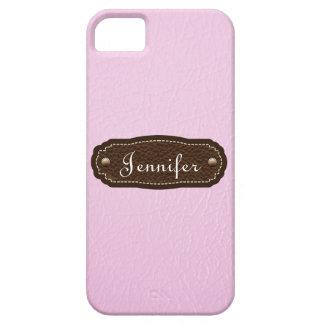 iPhone personalizado mirada de cuero rosada 5 Funda Para iPhone 5 Barely There
