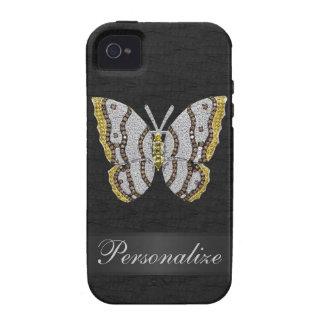 iPhone personalizado negro 4/4S de la mariposa del Vibe iPhone 4 Carcasas