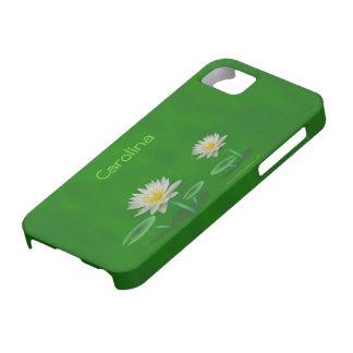 Iphone personalizado verde blanco 5 de Waterlilies iPhone 5 Funda