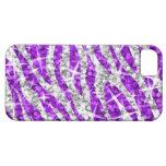 iPhone púrpura 5 de la cebra del Glitz horizontal iPhone 5 Fundas