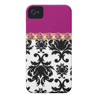 iPhone púrpura del monograma 4 casos Case-Mate iPhone 4 Protector