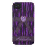 iPhone púrpura y negro 4 del arco y de Bling del e iPhone 4 Case-Mate Cárcasa