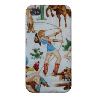 iPhone retro 4 de la caja de la mota de las vaquer iPhone 4 Cárcasas